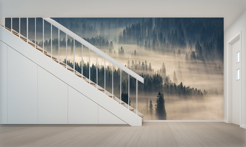 Modern house interior with white wall and staircase - 3d renderi