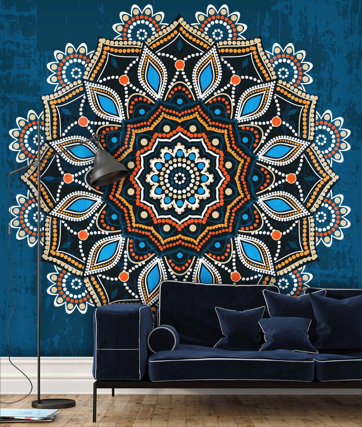 Minimalistic interior with a stylish blue velvet sofa and a modern black floor lamp
