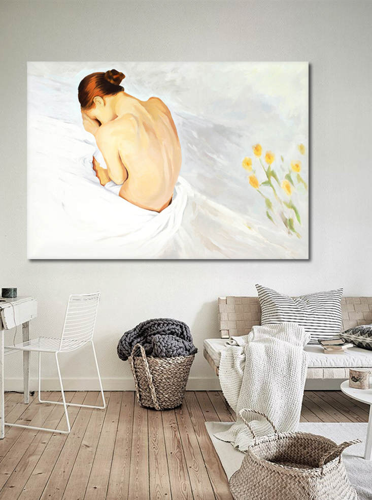 mock up poster with scandinavian interior background