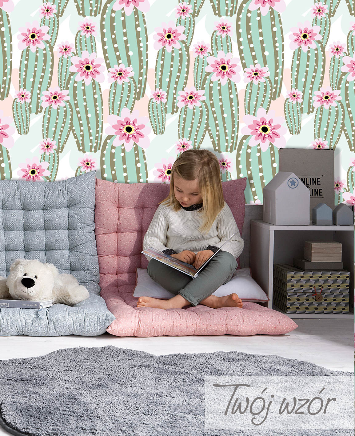 Stylish bed on wooden pallets and pink décor