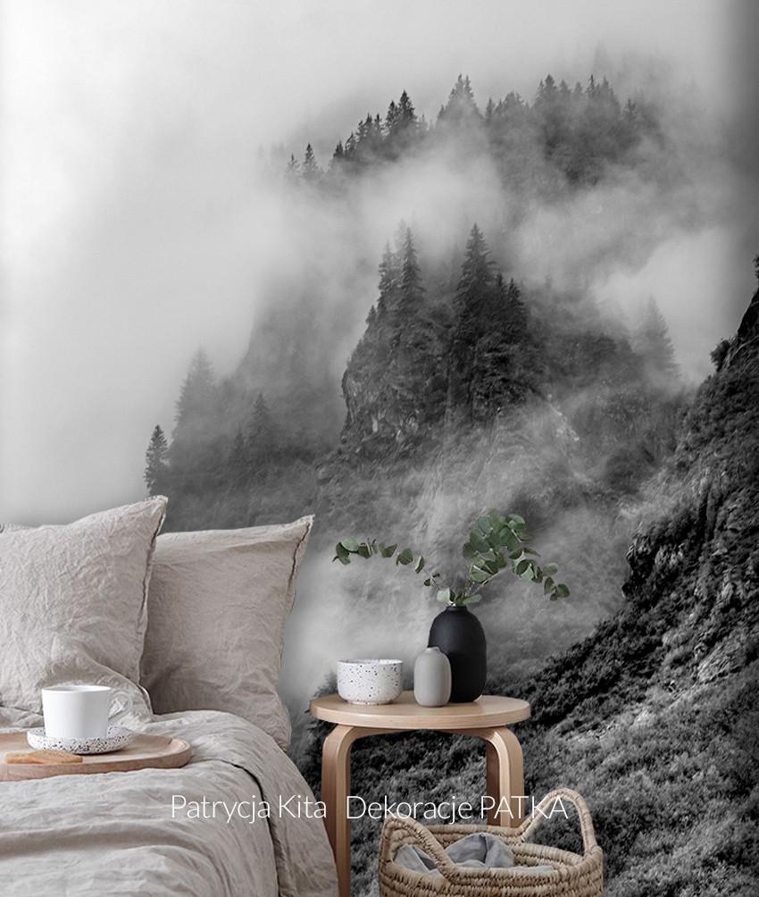 Fototapeta czarno-biały mglisty las