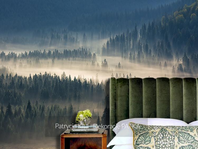 Fototapeta świerki we mgle na wzgórzu