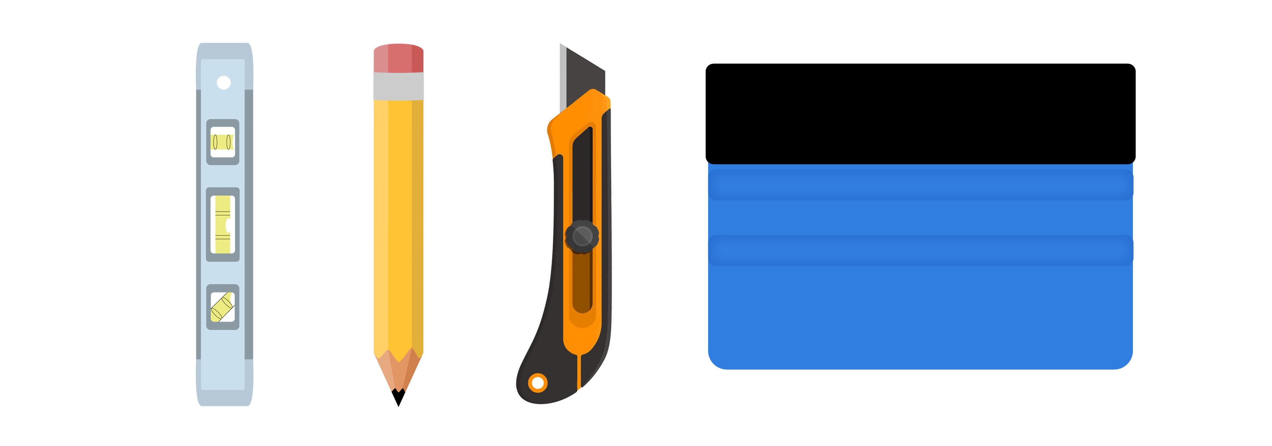Nóż, poziomica rakla, ołówek