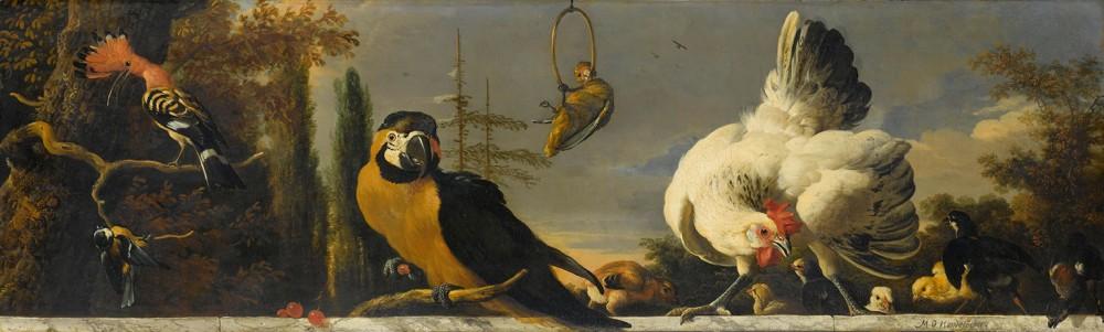 Ptaki Na Balustradzie, Melchior d'Hondecoeter, ok. 1680 - ok. 1690r. - wf918