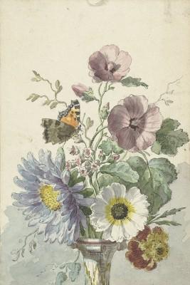 Bukiet kwiatów z motylem, Willem van Leen, 1763 - 1825 - wf1009