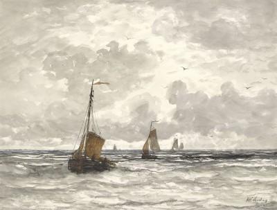 Łodzie rybackie na Breakerach, Hendrik Willem Mesdag, 1841 - 1915 - wf929
