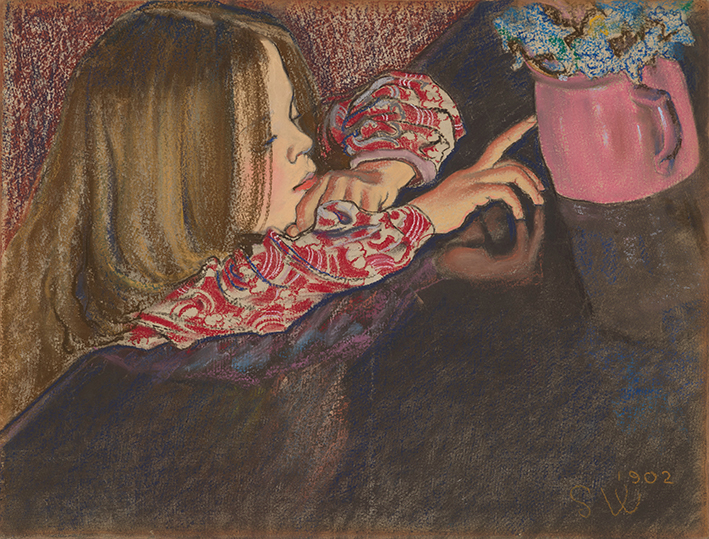Dziewczynka z wazonem i kwiatami  - wf1694